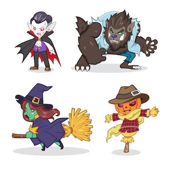 Conjunto de ilustración de dibujos animados de monstruo de halloween (vampiro, hombre lobo, bruja, espantapájaros)