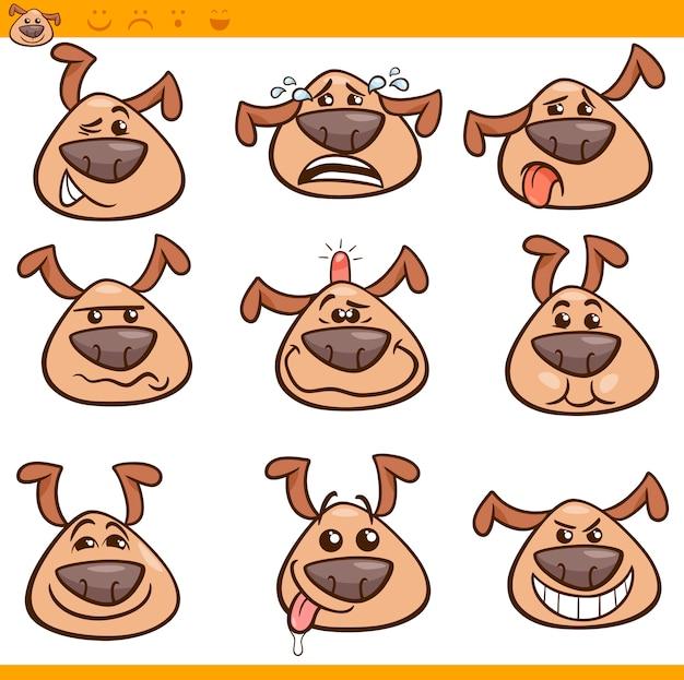 Conjunto de ilustración de dibujos animados de perros emoticones