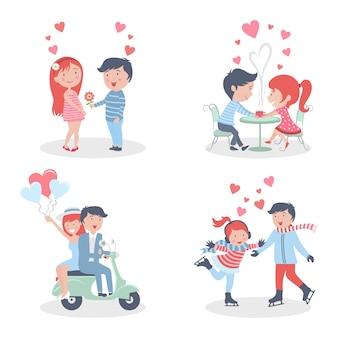 Conjunto de ilustración de dibujos animados de personaje de pareja de san valentín