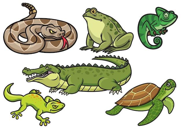 Conjunto de ilustración de dibujos animados de reptiles en conjunto