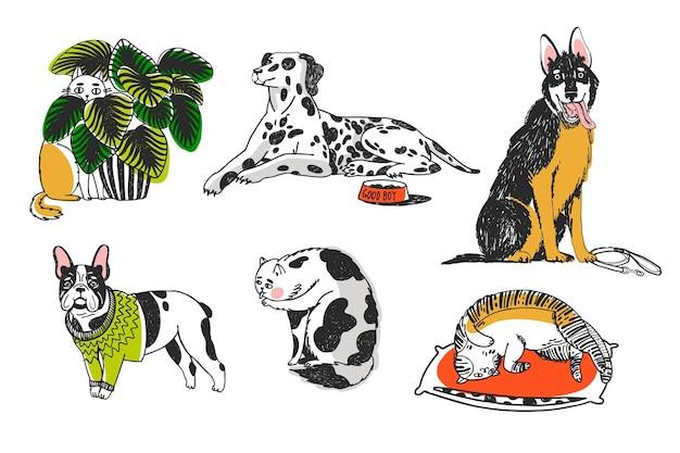 Conjunto de ilustración de diferentes mascotas