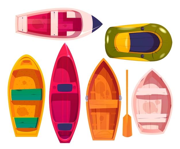 Conjunto de ilustración de diseño de canoa de kayak