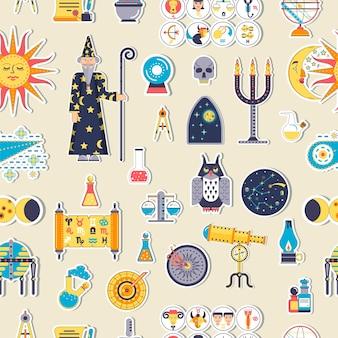 Conjunto de ilustración de diseño de casa de astrología