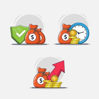 Conjunto de ilustración de diseño de icono de colección financiera