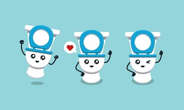 Conjunto de ilustración de diseño de logotipo de mascota de aseo lindo