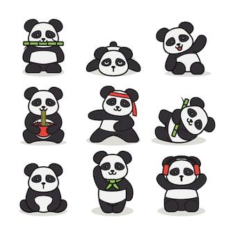 Conjunto de ilustración de diseño de logotipo de mascota panda lindo