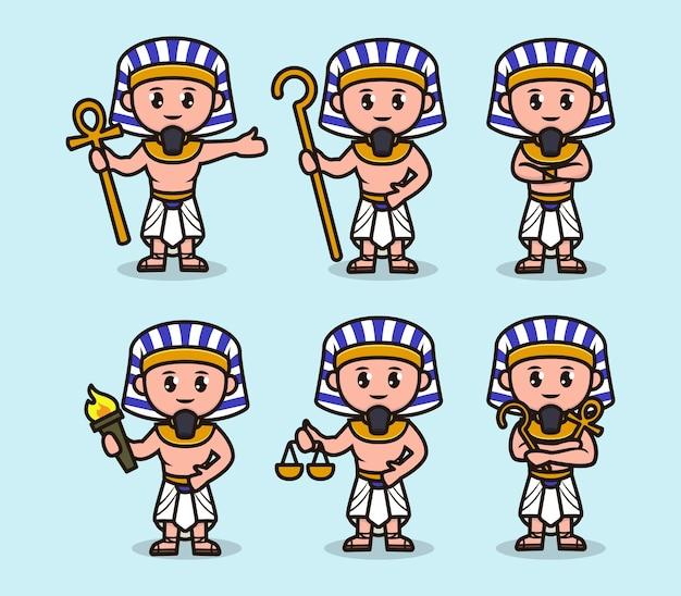 Conjunto de ilustración de diseño de mascota lindo faraón egipto