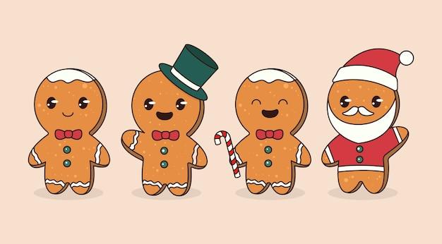 Conjunto de ilustración de diseño de mascota de pan de jengibre de navidad lindo