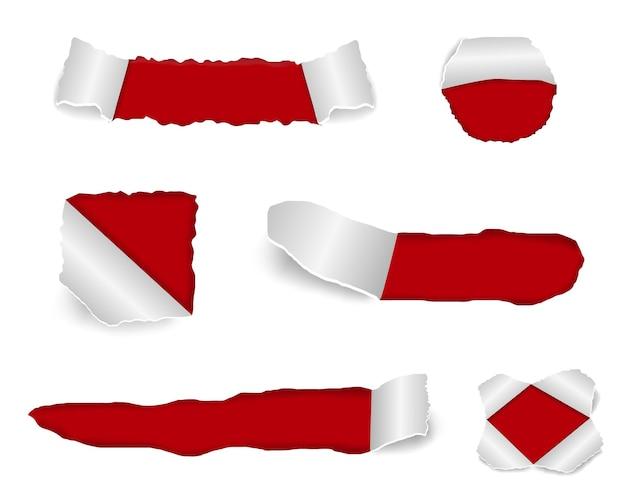 Conjunto de ilustración de diseño de papel rasgado