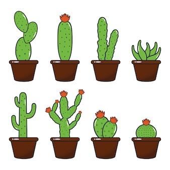 Conjunto de ilustración de diseño plano de maceta de cactus cactus