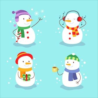 Conjunto de ilustración de diseño plano de personaje de muñeco de nieve