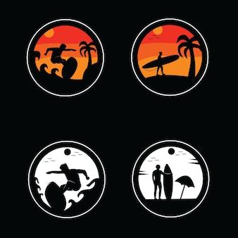 Conjunto de ilustración de diseño de siluetas de logotipo de surfista