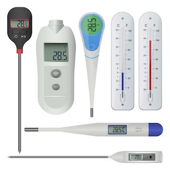 Conjunto de ilustración de diseño de termómetros aislado sobre fondo blanco
