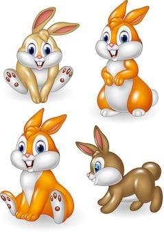 Conjunto de ilustración de divertidos animales domésticos de dibujos animados