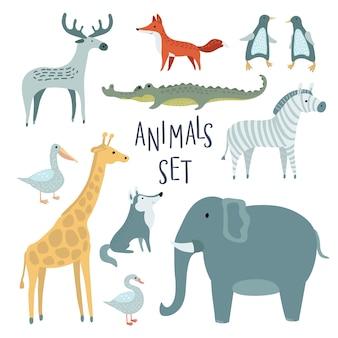 Conjunto de ilustración de divertidos animales lindos
