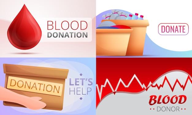 Conjunto de ilustración de donaciones de sangre, estilo de dibujos animados