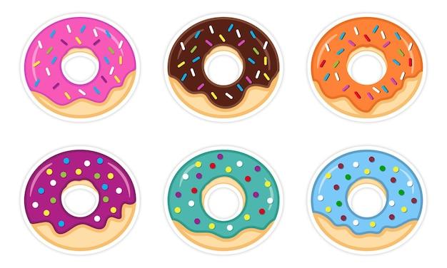 Conjunto de ilustración de donuts coloridos dulces