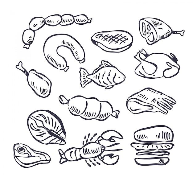 Conjunto de ilustración de doodle de carne