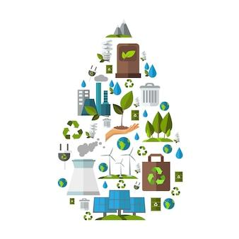 Conjunto de ilustración de ecología
