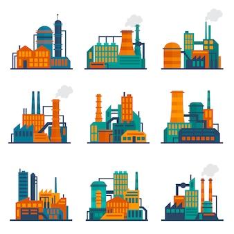 Conjunto de ilustración de edificio industrial plano