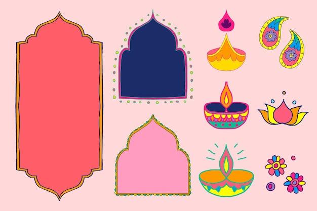 Conjunto de ilustración de elementos de diseño de rangoli indio de diwali