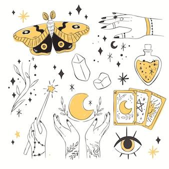 Conjunto de ilustración de elementos esotéricos