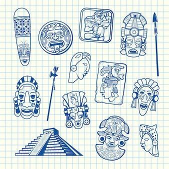 Conjunto de ilustración de elementos de máscara maya y azteca de dibujos animados