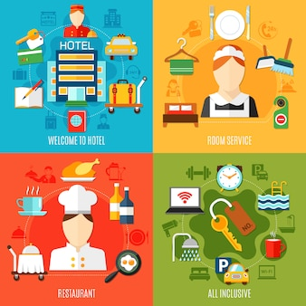 Conjunto de ilustración de elementos y trabajadores del hotel
