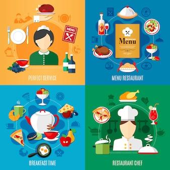 Conjunto de ilustración de elementos y trabajadores de restaurante