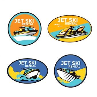 Conjunto de ilustración de emblema de jet ski adecuado para servicio de alquiler