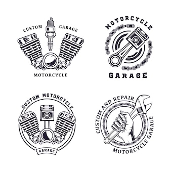 Conjunto de ilustración de emblema vintage de motocicleta