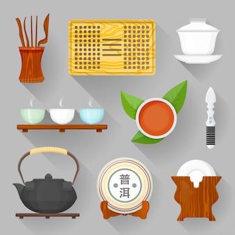 Conjunto de ilustración de equipo de ceremonia del té