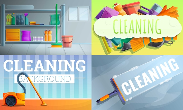 Conjunto de ilustración de equipo limpiador de casa, estilo de dibujos animados