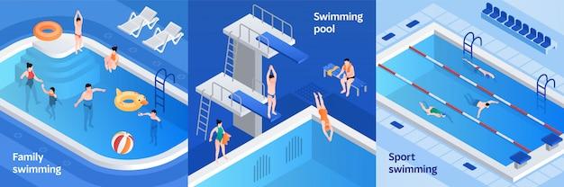 Conjunto de ilustración de equipos de piscina, estilo isométrico