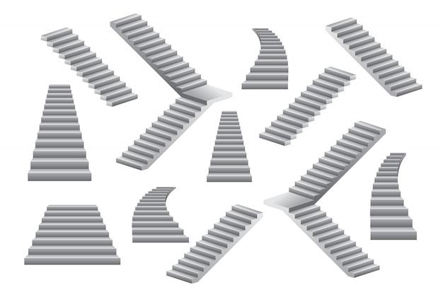 Conjunto de ilustración de escaleras aislado en blanco