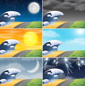 Conjunto de ilustración de escena de costa
