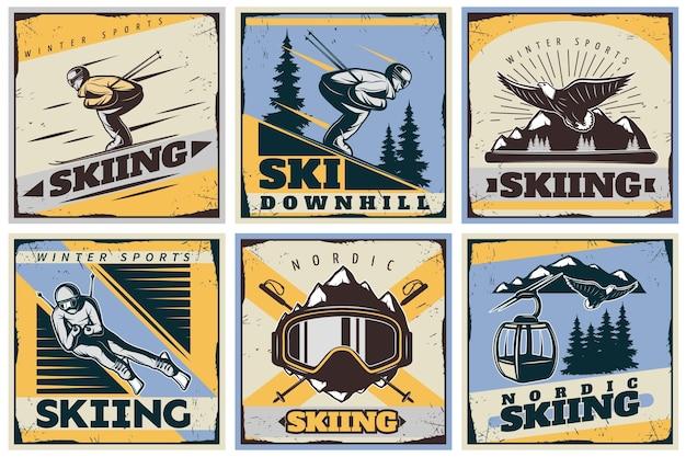Conjunto de ilustración de esquí nórdico