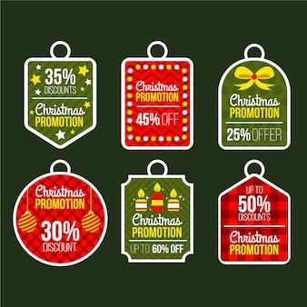 Conjunto de ilustración de etiqueta de venta de navidad de diseño plano