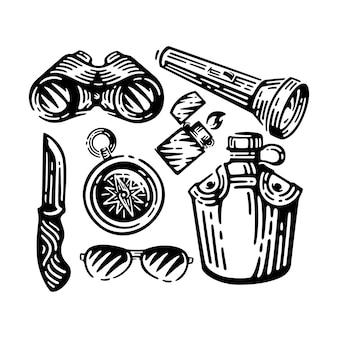 Conjunto de ilustración de expedición.