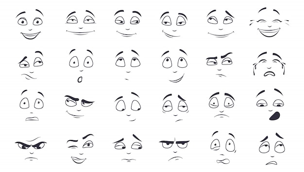 Conjunto de ilustración de expresión facial
