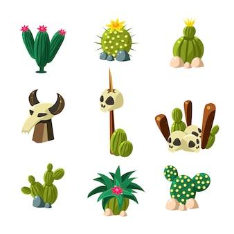 Conjunto de ilustración de flor de cactus y calavera
