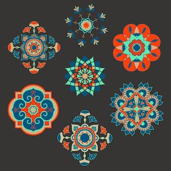 Conjunto de ilustración de flores étnicas