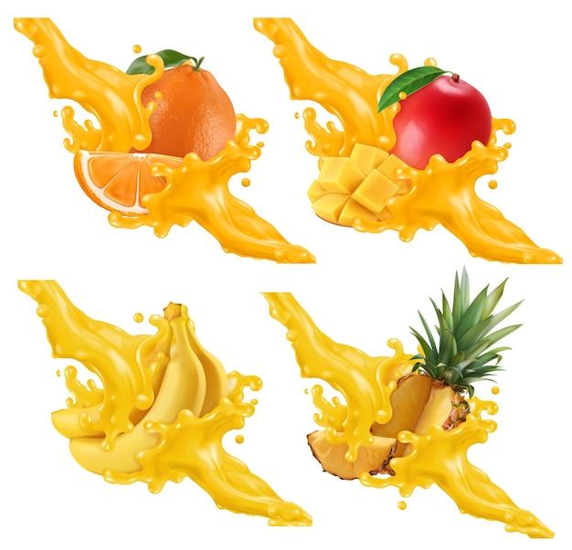 Conjunto de ilustración de frutas y bayas en un chorrito de jugo