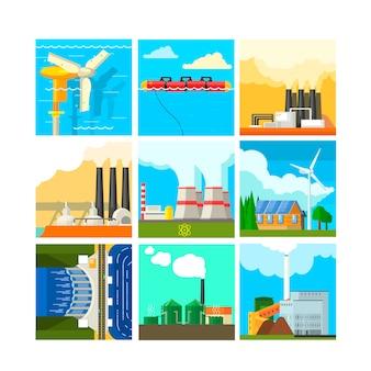 Conjunto de ilustración de fuentes de energía