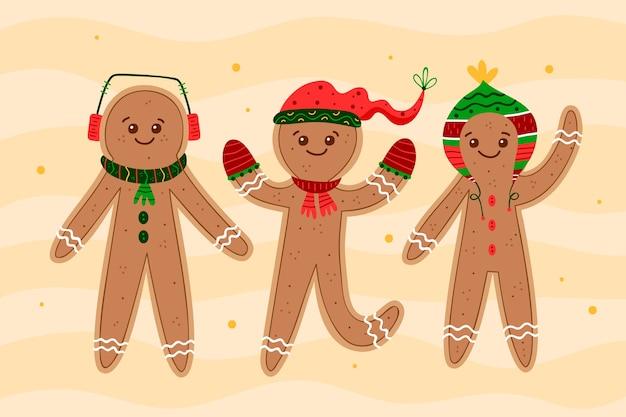 Conjunto de ilustración de galleta de hombre de pan de jengibre dibujado a mano