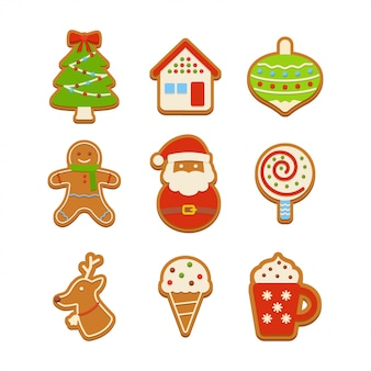 Conjunto de ilustración de galletas de jengibre