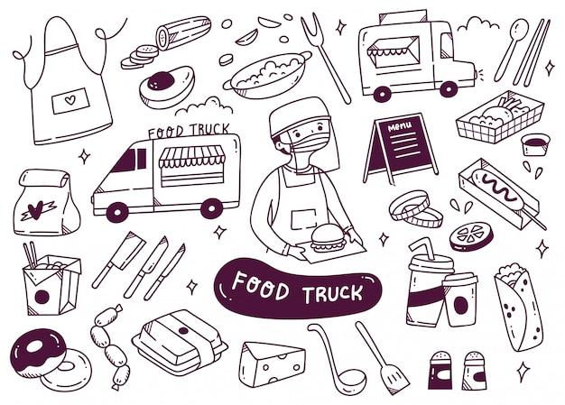 Conjunto de ilustración de garabatos de camión de comida