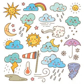 Conjunto de ilustración de garabatos de clima