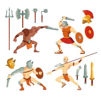 Conjunto de ilustración de gladiadores y armas