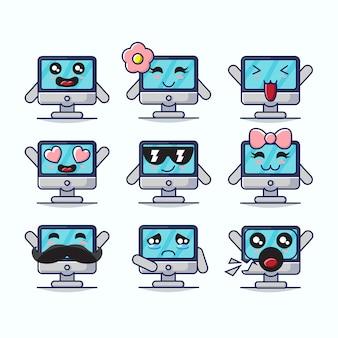 Conjunto de ilustración gráfica linda computadora mascotas
